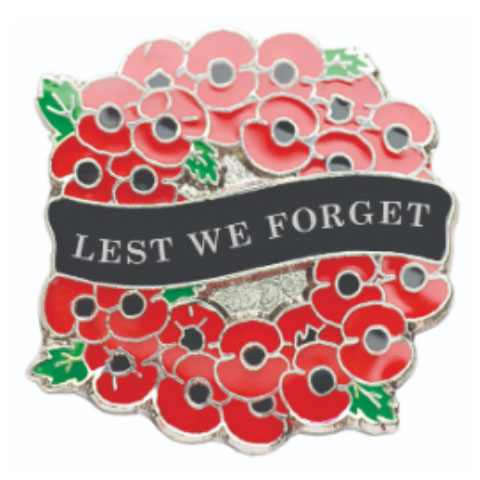 Lest We Forget Reef Pin Badge