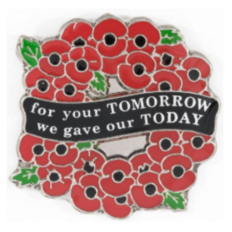 For Your Tomorrow Wreath Pin Badge